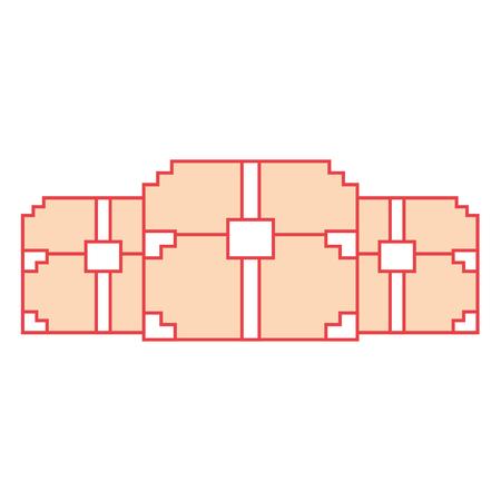 Three wooden pixelated chest treasure game vector illustration orange color image