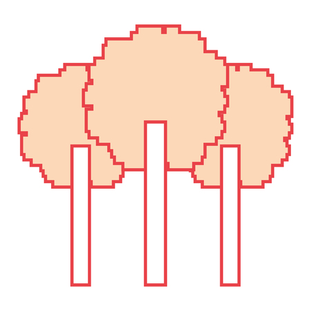 Three pixelated tree nature environment icon vector illustration orange color image Illustration