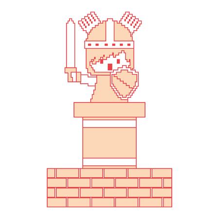 ピクセルキャラクター騎士ゲーム壁レンガベクトルイラストオレンジ色画像