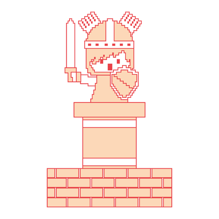 Pixel character knight game wall brick vector illustration orange color image Illustration