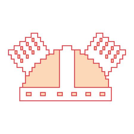 Pixel helmet protection game icon vector illustration orange color image Vettoriali