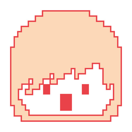 Pixelated face boy video game avatar vector illustration orange color image