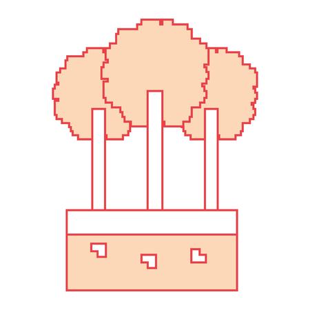 Set of pixel tree foliage trunk nature vector illustration orange color image