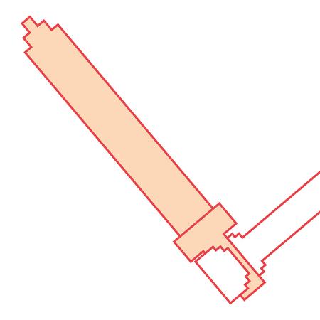 手持ち剣武器ビデオゲームベクトルイラストオレンジ色画像