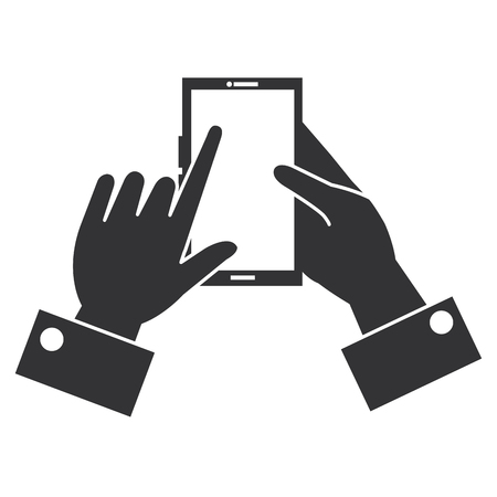 hand with smartphone device vector illustration design.