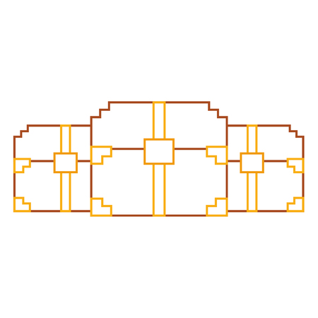 three wooden pixelated chest treasure game vector illustration line color design