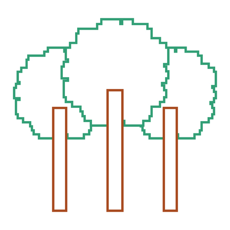 three pixelated tree nature environment icon vector illustration line color design