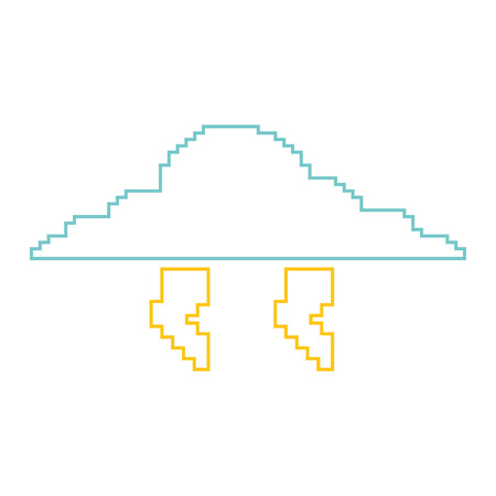 Pixelated cloud and thunderbolt icon illustration. Illustration