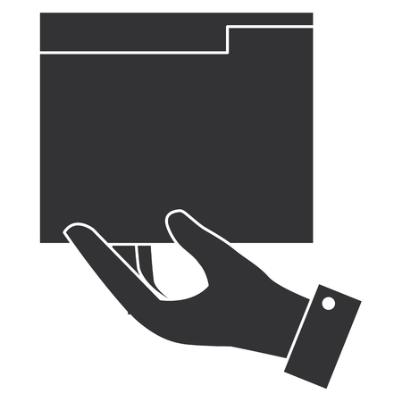 hand with file folder documents icon vector illustration design