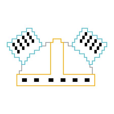 Pixel helmet protection game icon vector illustration line color design
