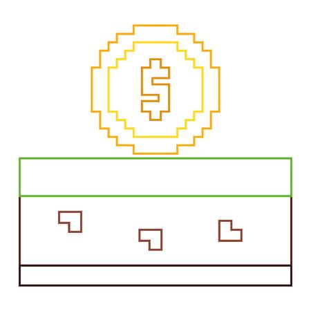 Pixeled golden coin treasure score vector ilustração linha cor design Foto de archivo - 93605311