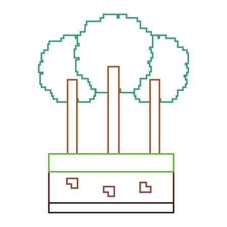 set of pixel tree foliage trunk nature vector illustration line color design Фото со стока - 93605313