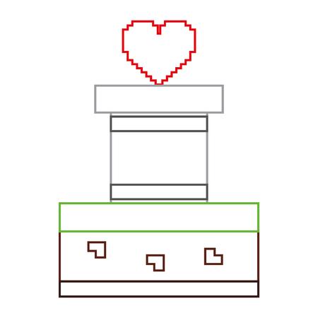 heart love life video game vector illustration line color design Illustration