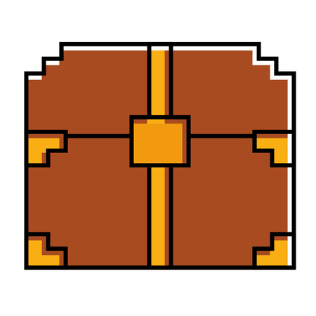 pixelated video game treasure chest fortune vector illustration 向量圖像