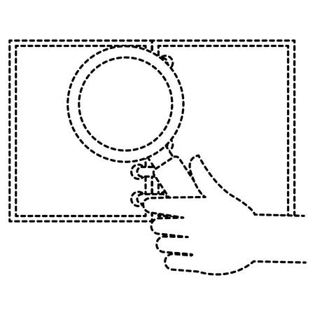 note book with magnifying glass vector illustration design Illustration