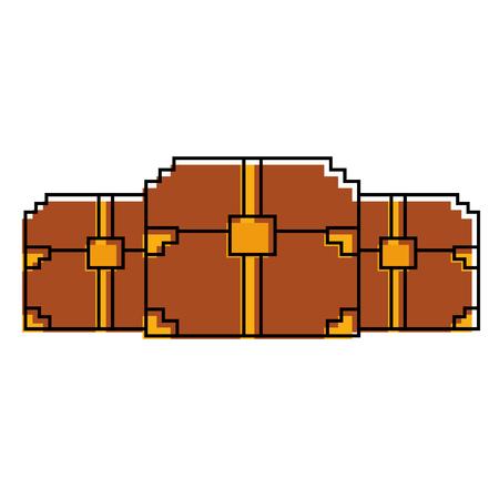 Ilustração em vetor jogo tesouro peito madeira pixelizada três Foto de archivo - 93603476