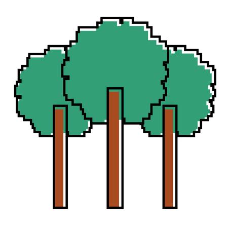 Three pixelated tree nature environment icon vector illustration