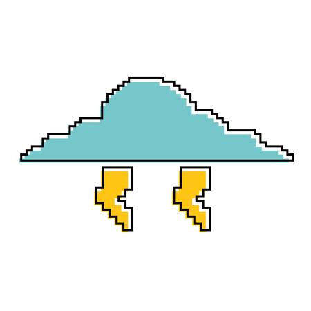 픽셀 화 구름과 벼락 기상 폭풍 벡터 일러스트 레이션