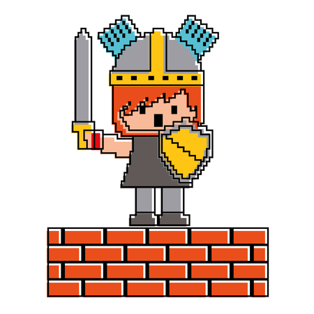 Pixel character knight with brick wall, game vector illustration Çizim