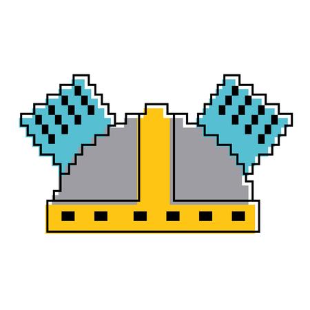 pixel helmet protection game icon vector illustration Illustration