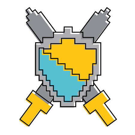 shield and swords video game vector illustration