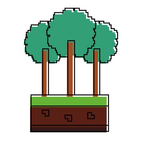 Set of pixel tree icon