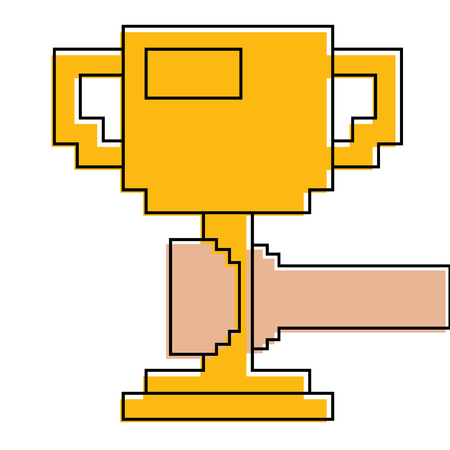 pixelated hand holding trophy cup game vector illustration