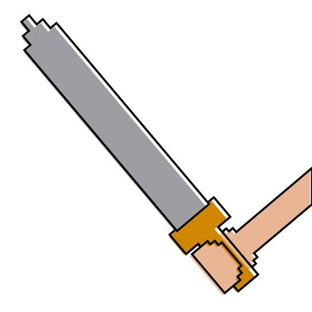 ピクセル化された手持ち剣武器ビデオゲームベクトルイラスト