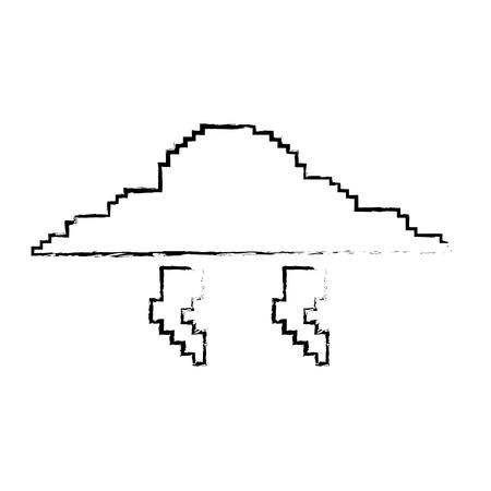 Pixelated 구름과 벼락 폭풍 벡터 일러스트 스케치 디자인