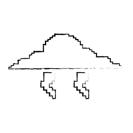 Pixelated cloud and thunderbolt weather storm vector illustration sketch design