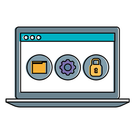Laptop computer with icons illustration design