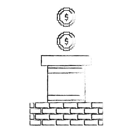 Coin treasure and wall brick sketch design