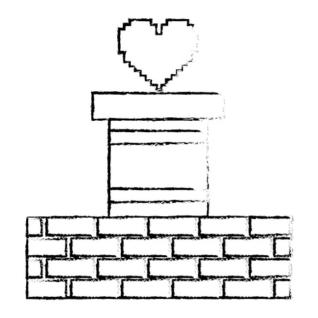 heart love life video game vector illustration sketch design