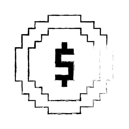 Coin pixel dollar sketch design