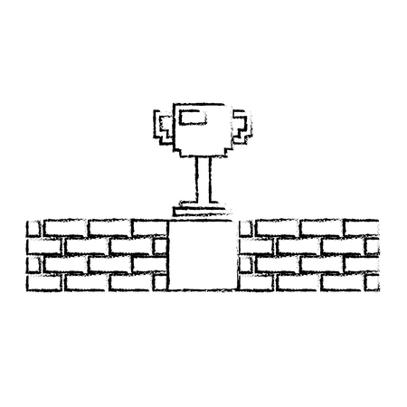 pixel trophy prize game brick wall vector illustration sketch design Illustration