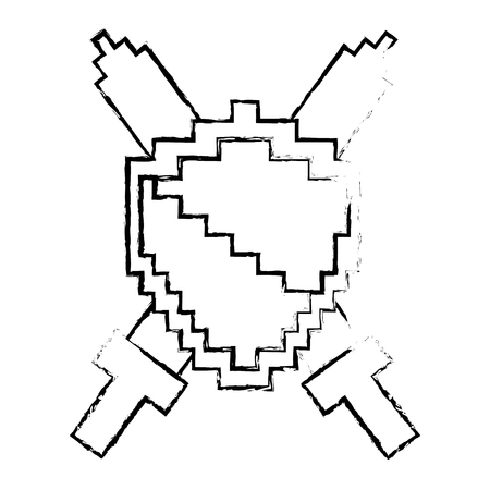 Pixelated shield and swords video game vector illustration sketch design