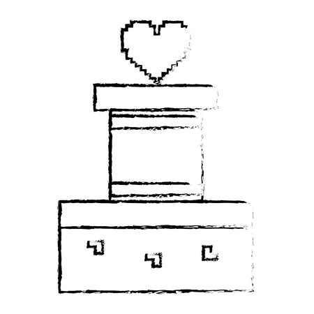 Heart life video game sketch design Illustration