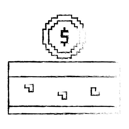 Pixeled coin treasure score video game vector illustration sketch design