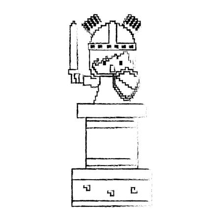 pixel caractère chevalier avec épée et bouclier conception de croquis