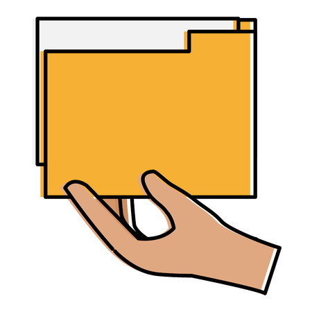 Hand with file folder documents icon Illustration