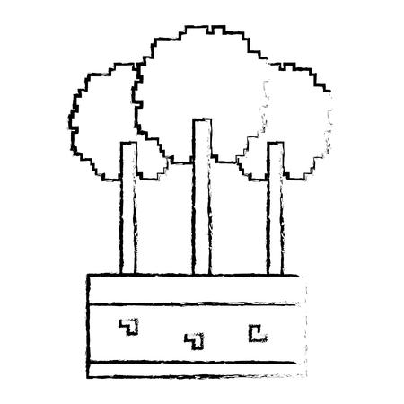Set of pixel tree foliage trunk nature vector illustration sketch design Фото со стока - 93619116