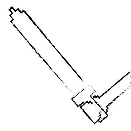 ピクセル化された手持ち剣武器ビデオゲームベクトルイラストスケッチデザイン  イラスト・ベクター素材