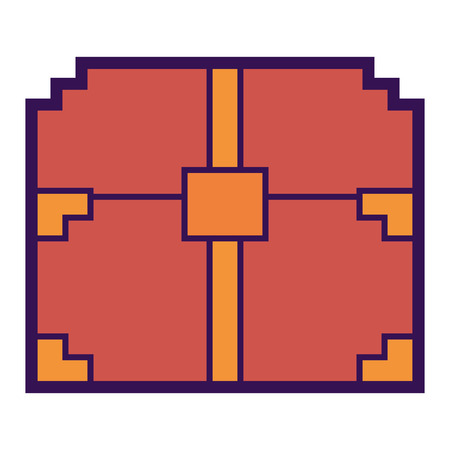 A pixelated video game treasure chest fortune vector illustration Ilustração