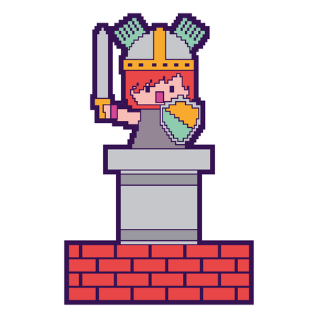 pixel character knight game wall brick vector illustration