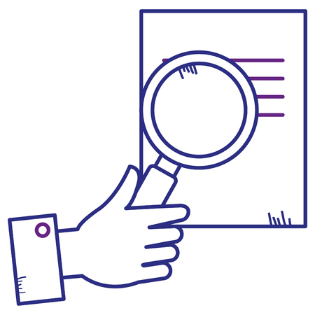 Paper document with magnifying glass vector illustration design