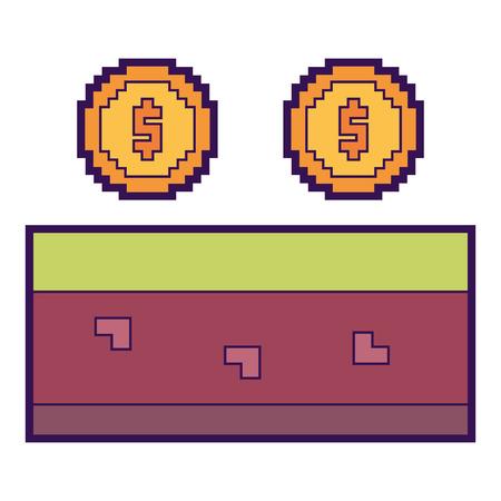 pixeled golden coin treasure score vector illustration Illustration