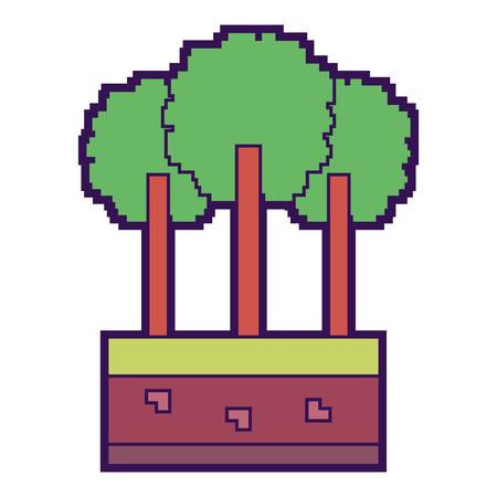 set of pixel tree foliage trunk nature vector illustration 向量圖像