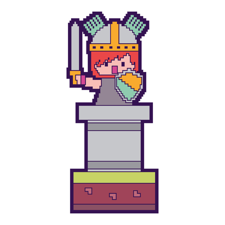 pixel character knight with sword and shield video game vector illustration Illustration