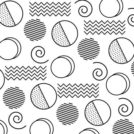 Memphis design circles zig zag lines banner abstract geometric pattern decorative vector