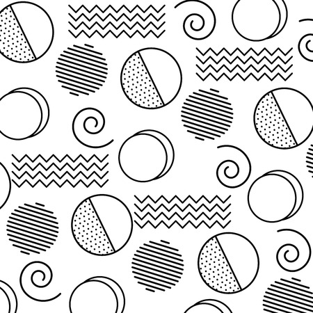 Memphis design circles zig zag lines banner abstract geometric pattern decorative vector